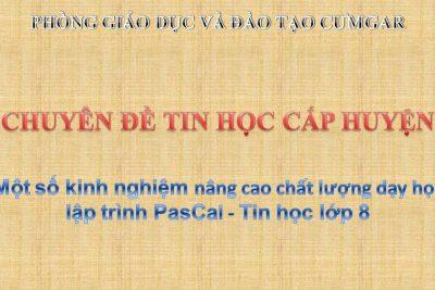 Chuyên đề: Một số biện pháp nâng cao chất lượng dạy học NNLT Pascal